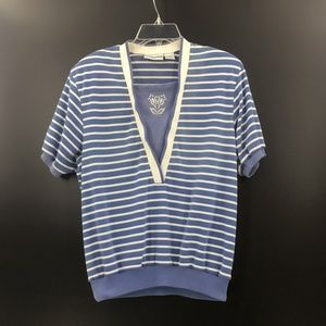 ALFRED DUNNER Blue Country Club Golf Shirt